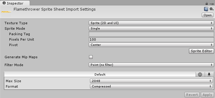 Spritesheet import settings